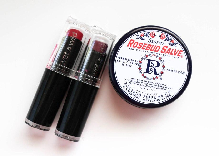 Wet n Wild lipsticks and Rosebud Salve