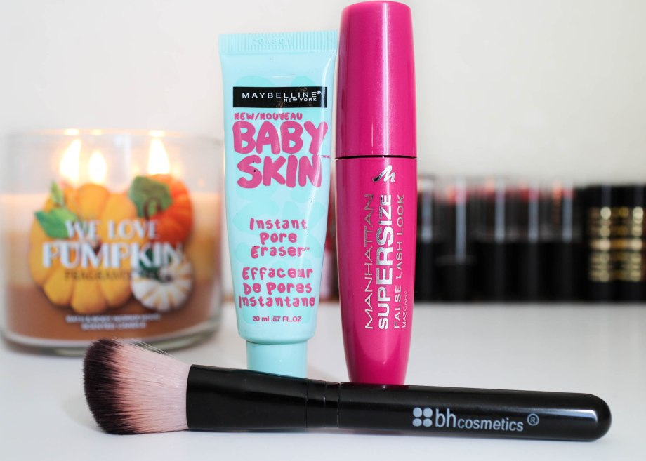 maybelline baby skin, bh cosmetics blush brush, manhattan mascara