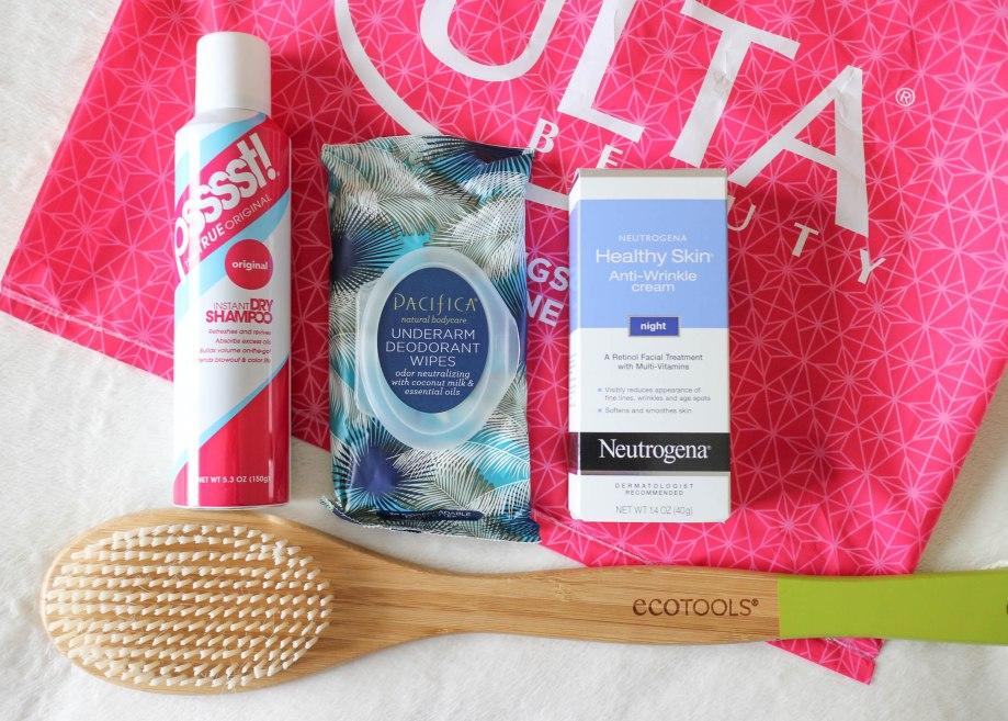 Pssst dry shampoo, Pacifica underarm wipes, neutropenia healthy skin night cream, eco tools bath brush