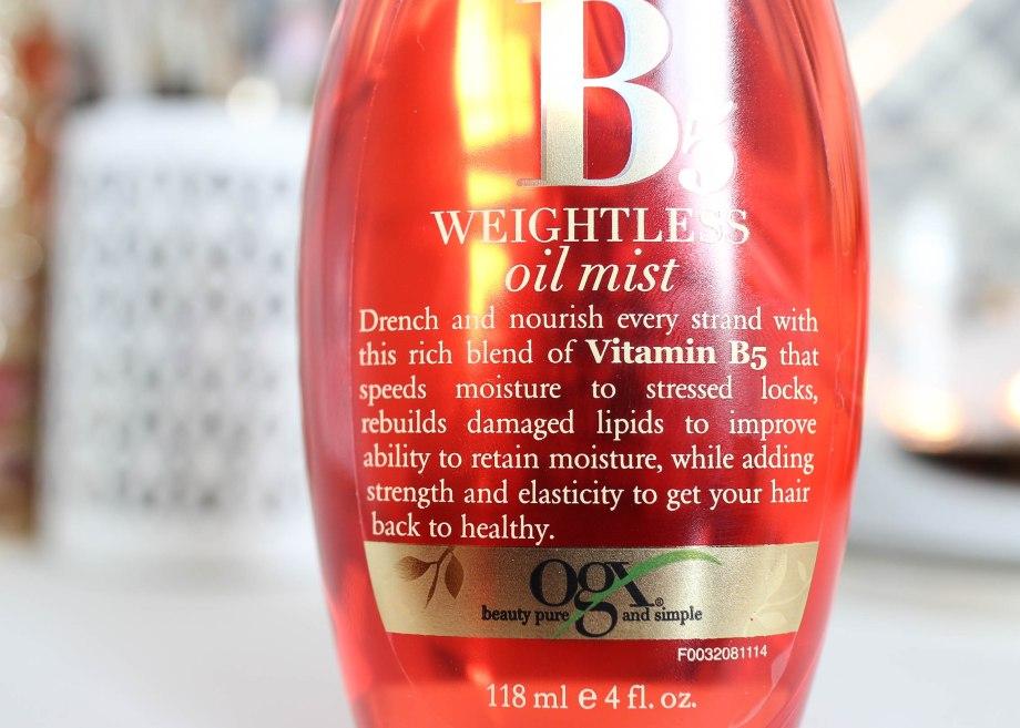 OGX Moisture + Vitamin B5 Weightless Oil Mist