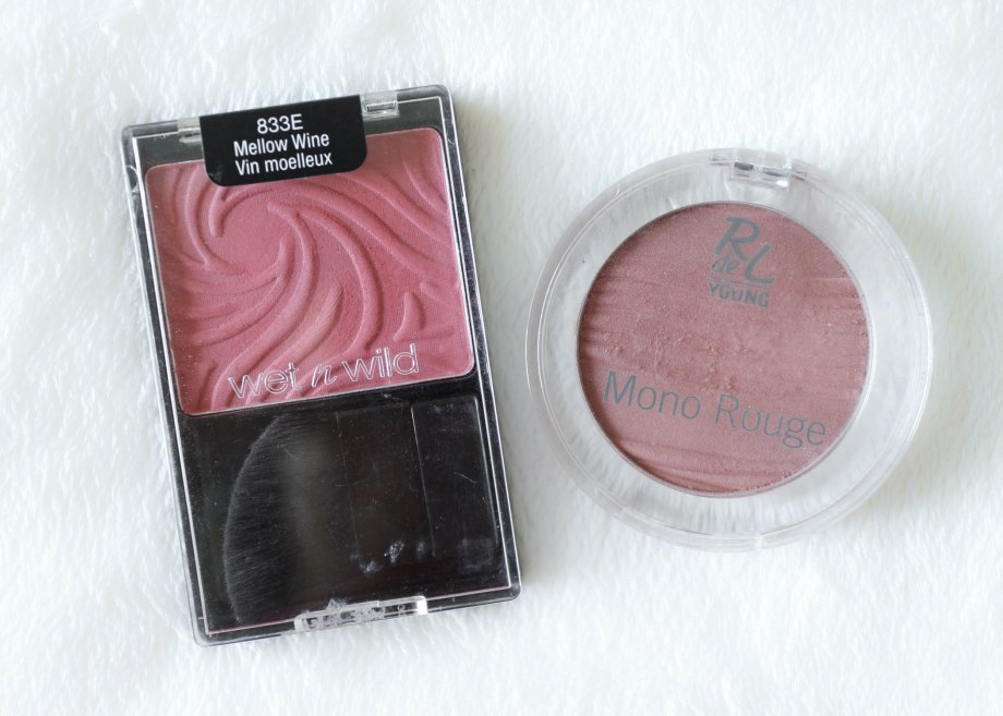 Wet n Wild Mellow Wine blush, Rival De Young Rosewood blush