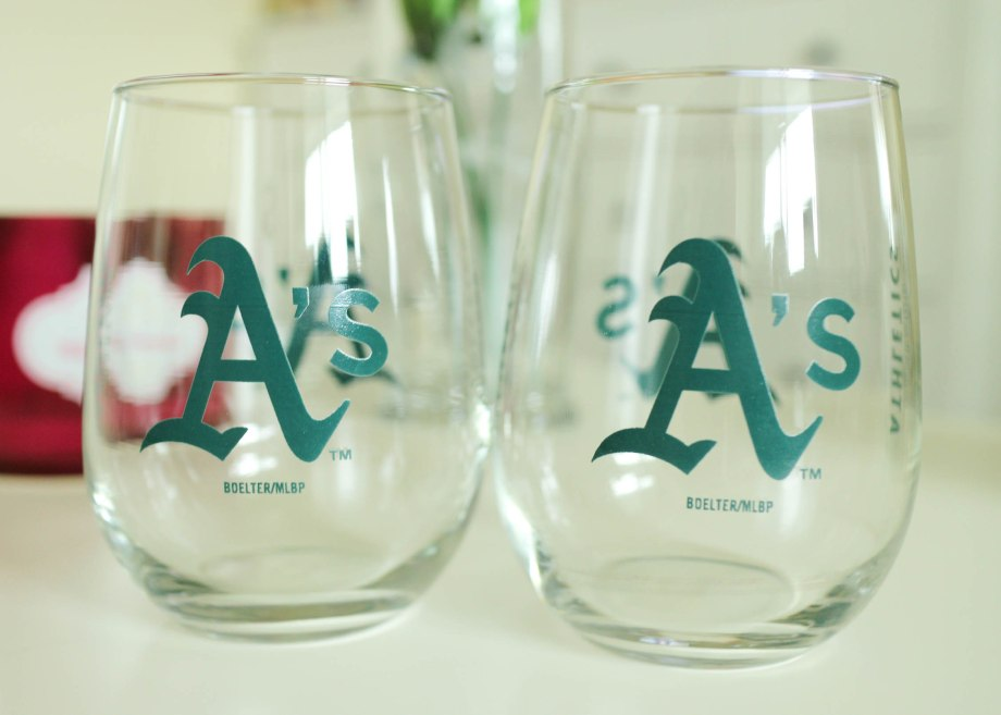 Oakland Athletics wine glasses